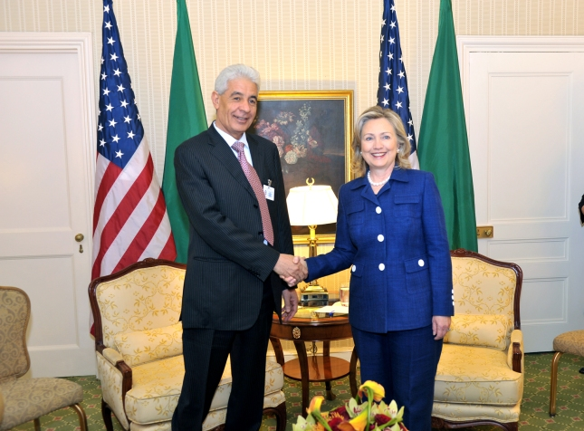 Moussa Koussa with Hillary Clinton in 2010