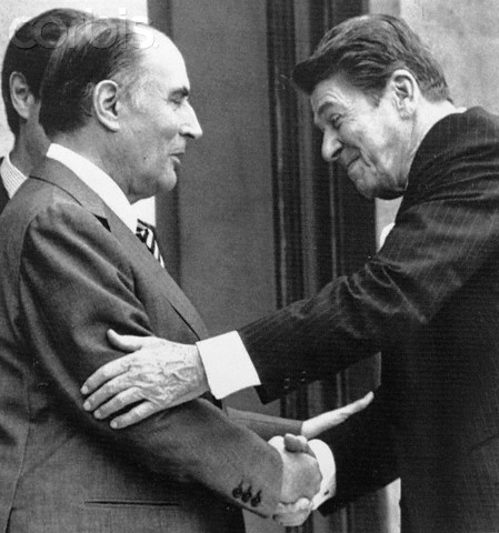 03 Jun 1982, Paris, France --- Original caption: Paris: President Francois Mitterrand greets President Ronald Reagan arriving at the Elysee Palace for lunch and meeting. President Reagan is France to attend the Economic Summit at Versailles. --- Image by © Bettmann/CORBIS